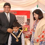 Winner of U-13 category receiving a Gold Medal from the Chief Guest, Mr. Hanif Qureshi.